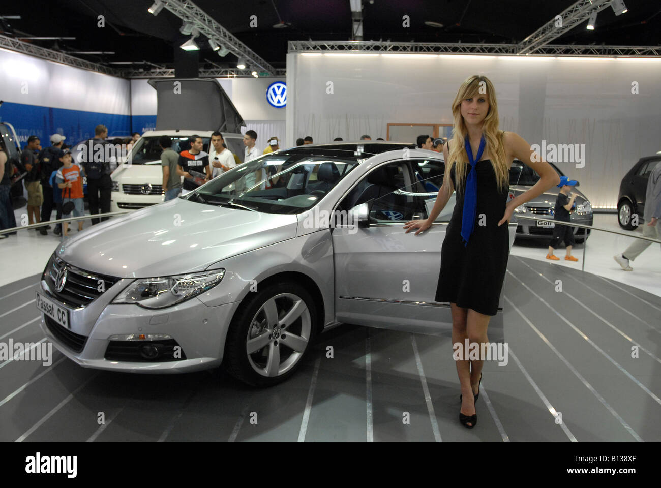 Israel New Model Cars On Display At A Car Show Young Female