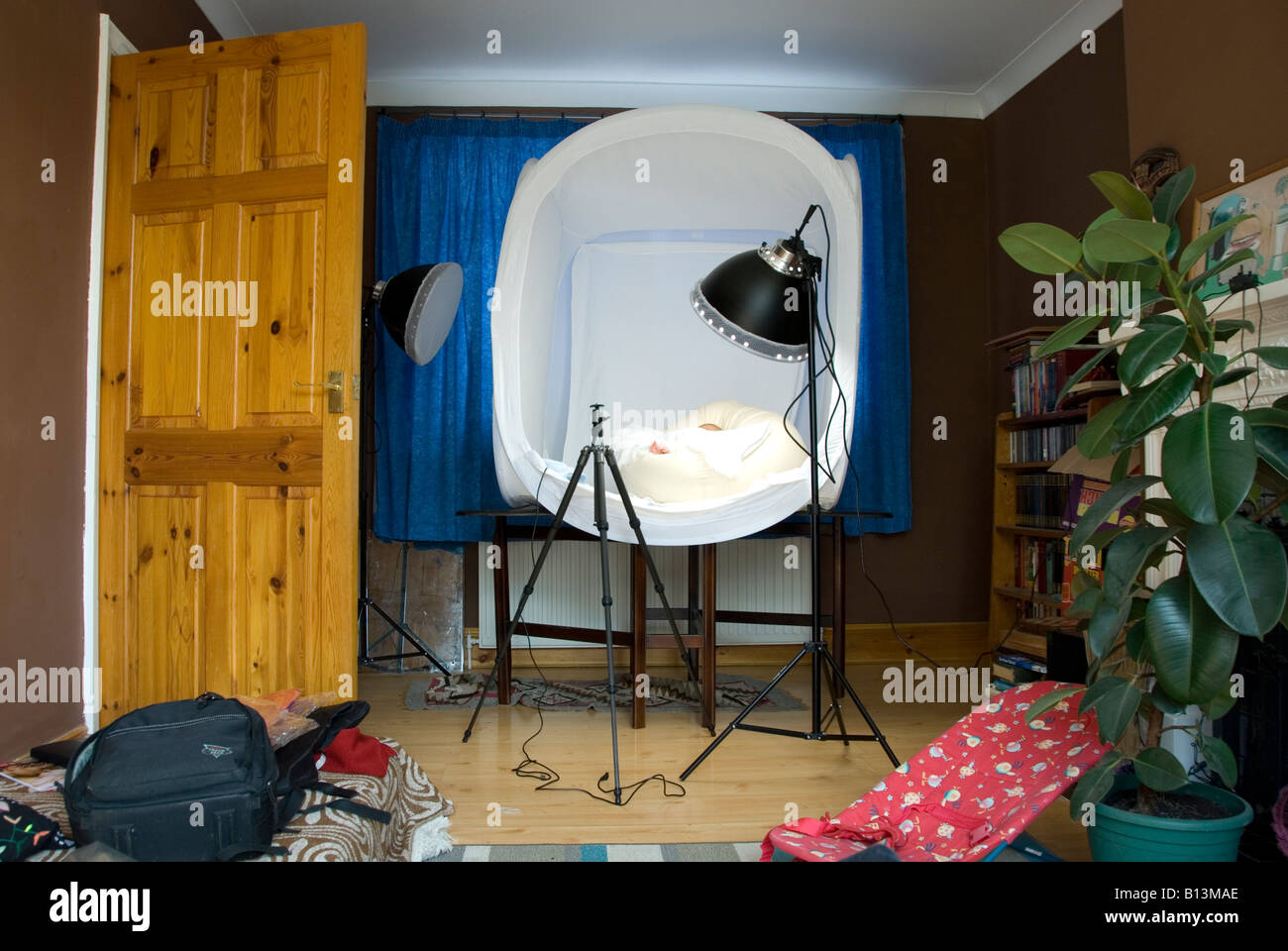 Light Tent and Photography Studio Kit in Front Room of House with Plant and Baby Rocker Chair & Light Tent and Photography Studio Kit in Front Room of House with ...