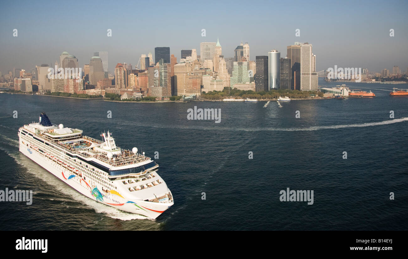 Aerial View Of The Cruise Ship Norwegian Dawn Leaving New York - What cruise ships leave from nyc