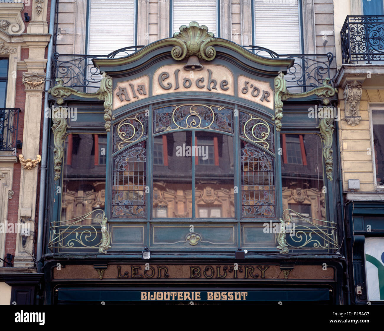 lille fassade facade art deco rue des mannelins erker stock photo royalty free image. Black Bedroom Furniture Sets. Home Design Ideas