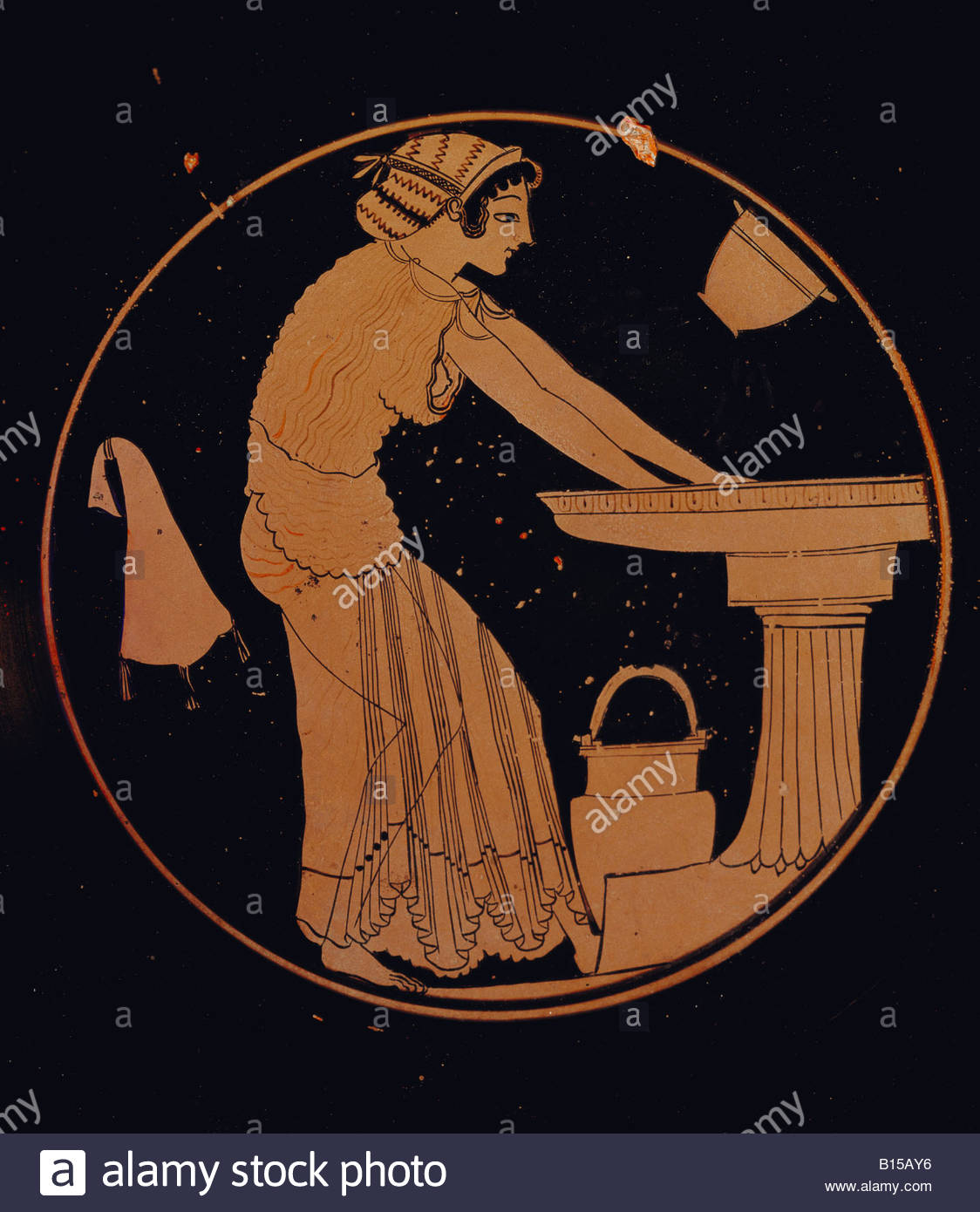 Fine arts ancient world greece vase painting interior of a fine arts ancient world greece vase painting interior of a drinking vessel girl washing her hands by the painter duris h reviewsmspy