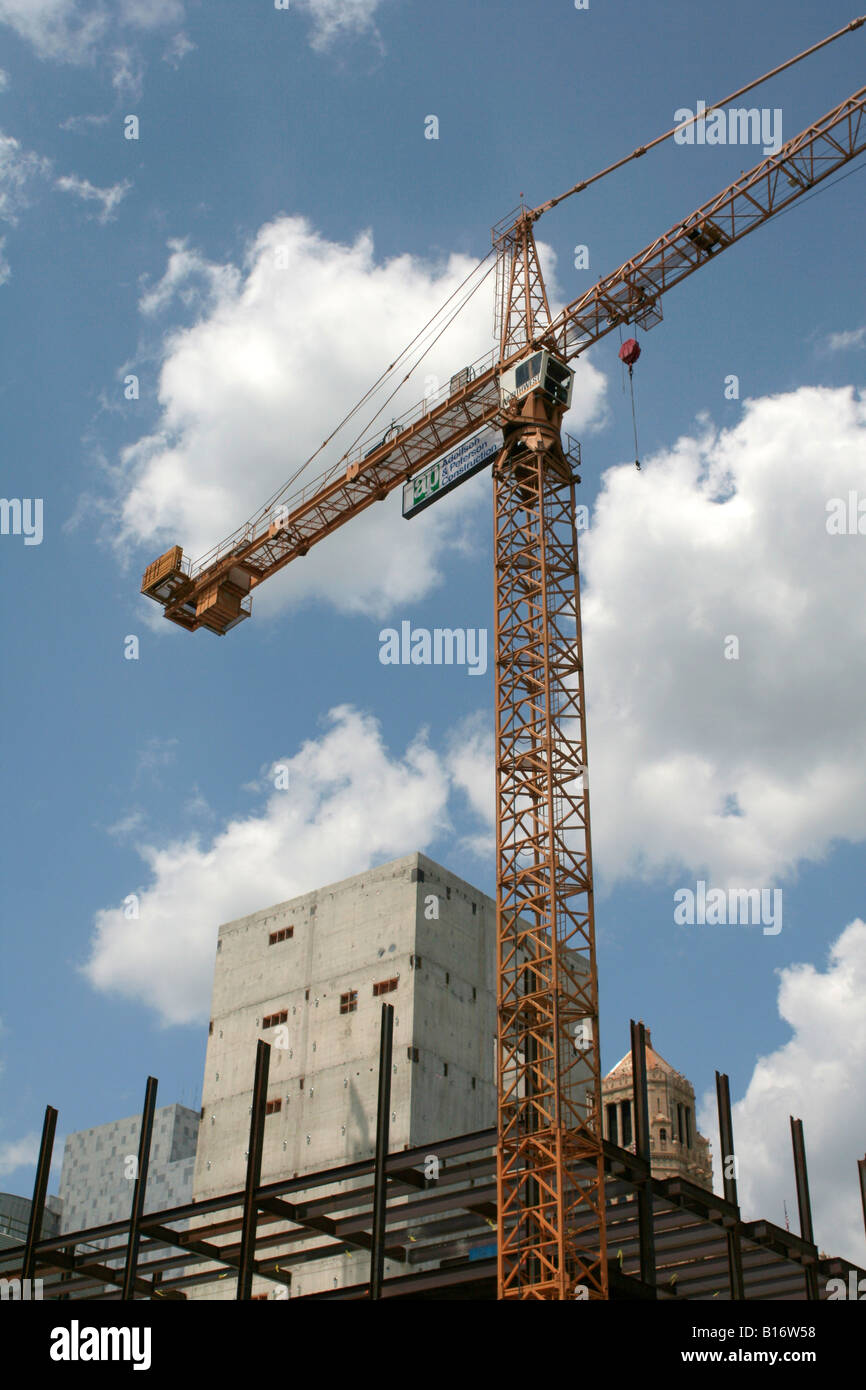 large tower crane on new construction rochester minnesota stock photo royalty free image. Black Bedroom Furniture Sets. Home Design Ideas