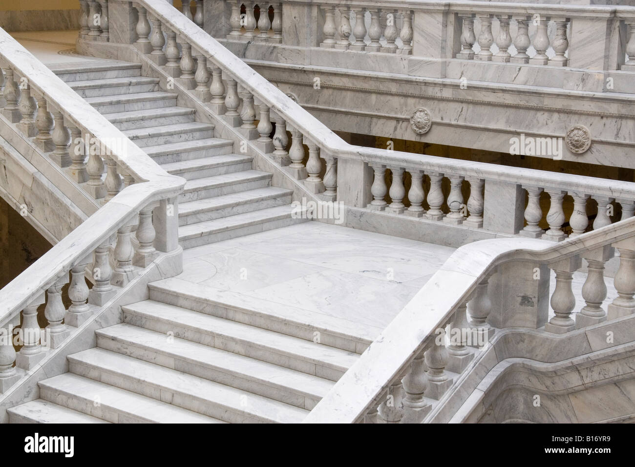 marble staircase in the utah state capitol building stock photo