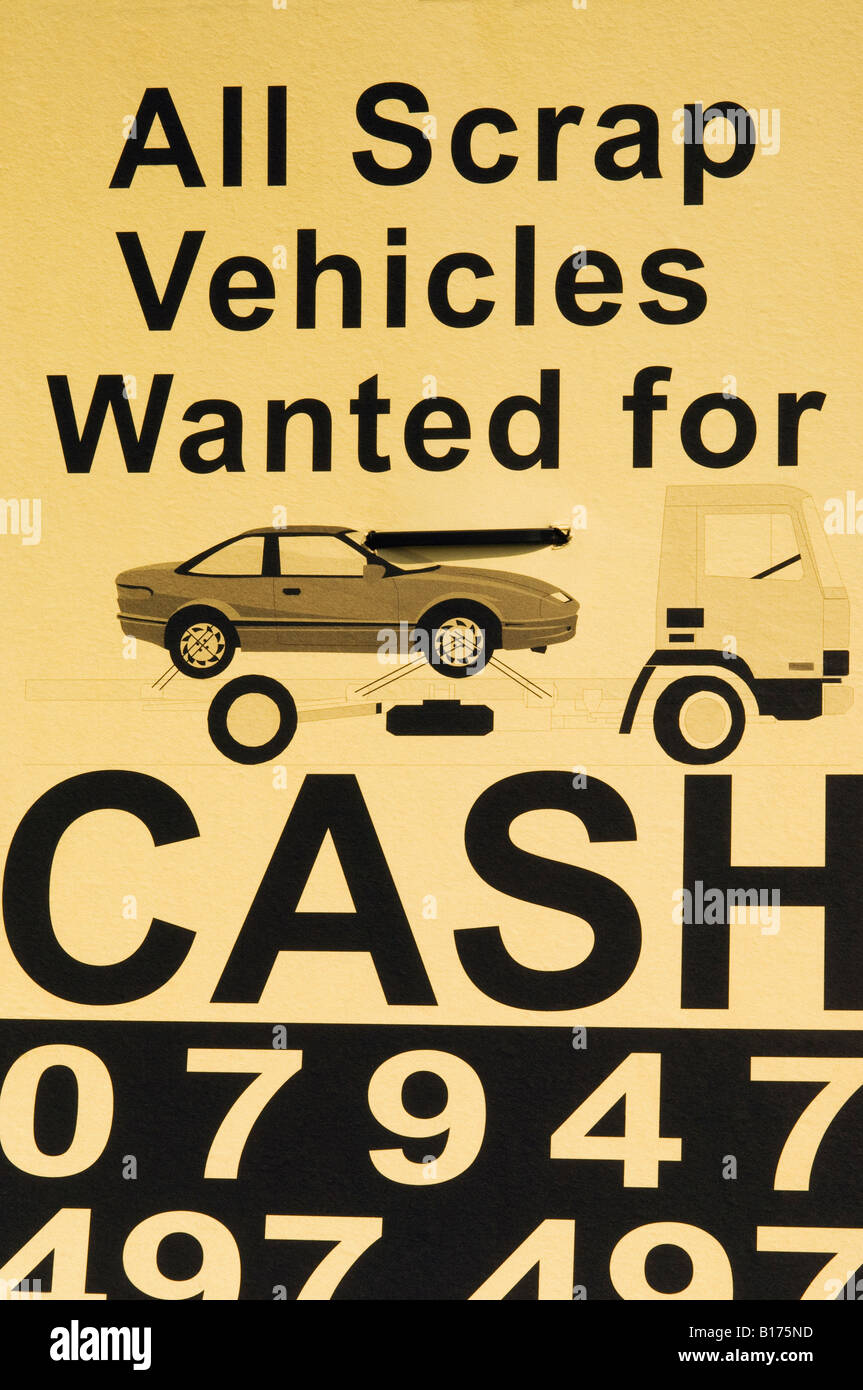 England, London, Hammersmith, \'All Scrap Vehicles Wanted for Cash ...