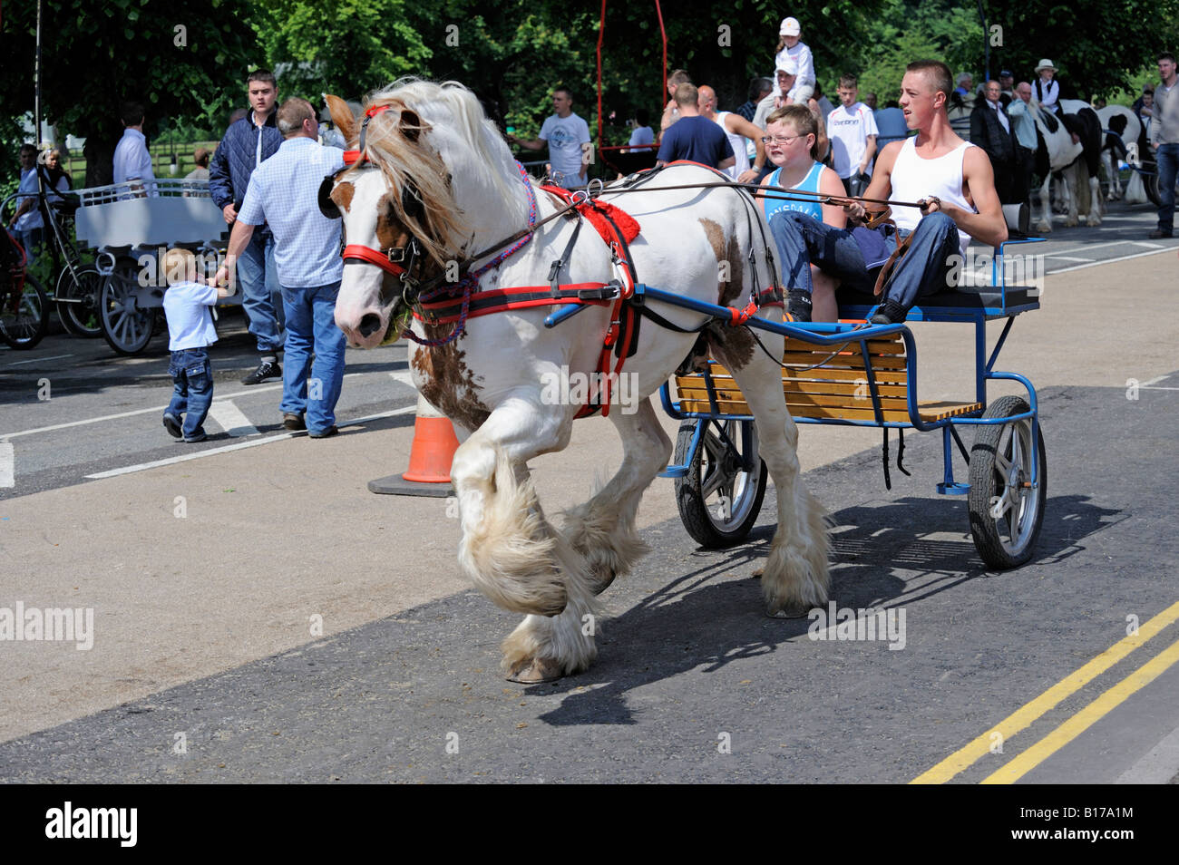 Gypsy traveller boy riding horse. Appleby Horse Fair Stock Photo ...