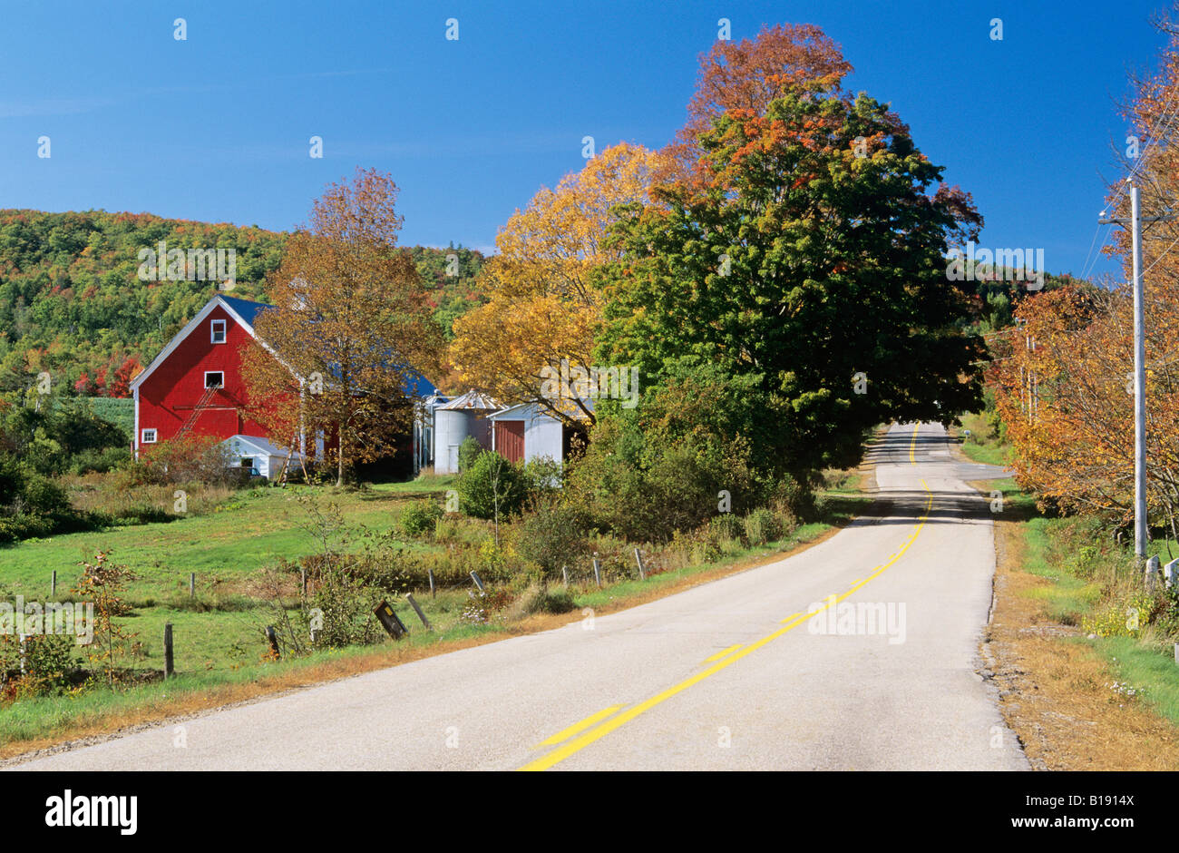 Country road and farm near clarence annapolis river valley nova scotia canada