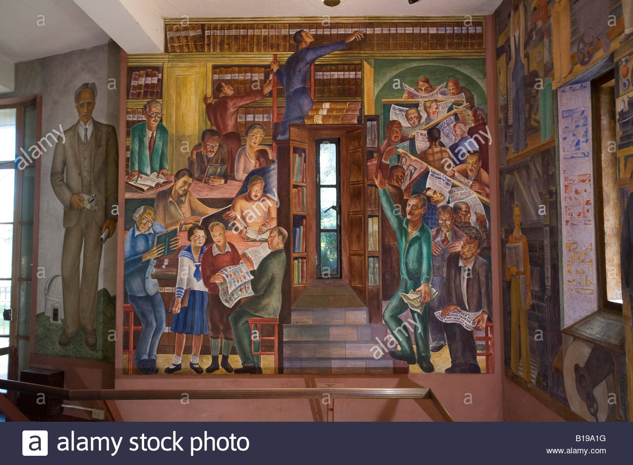 Wpa mural in the lobby of coit tower in san francisco for Coit tower mural