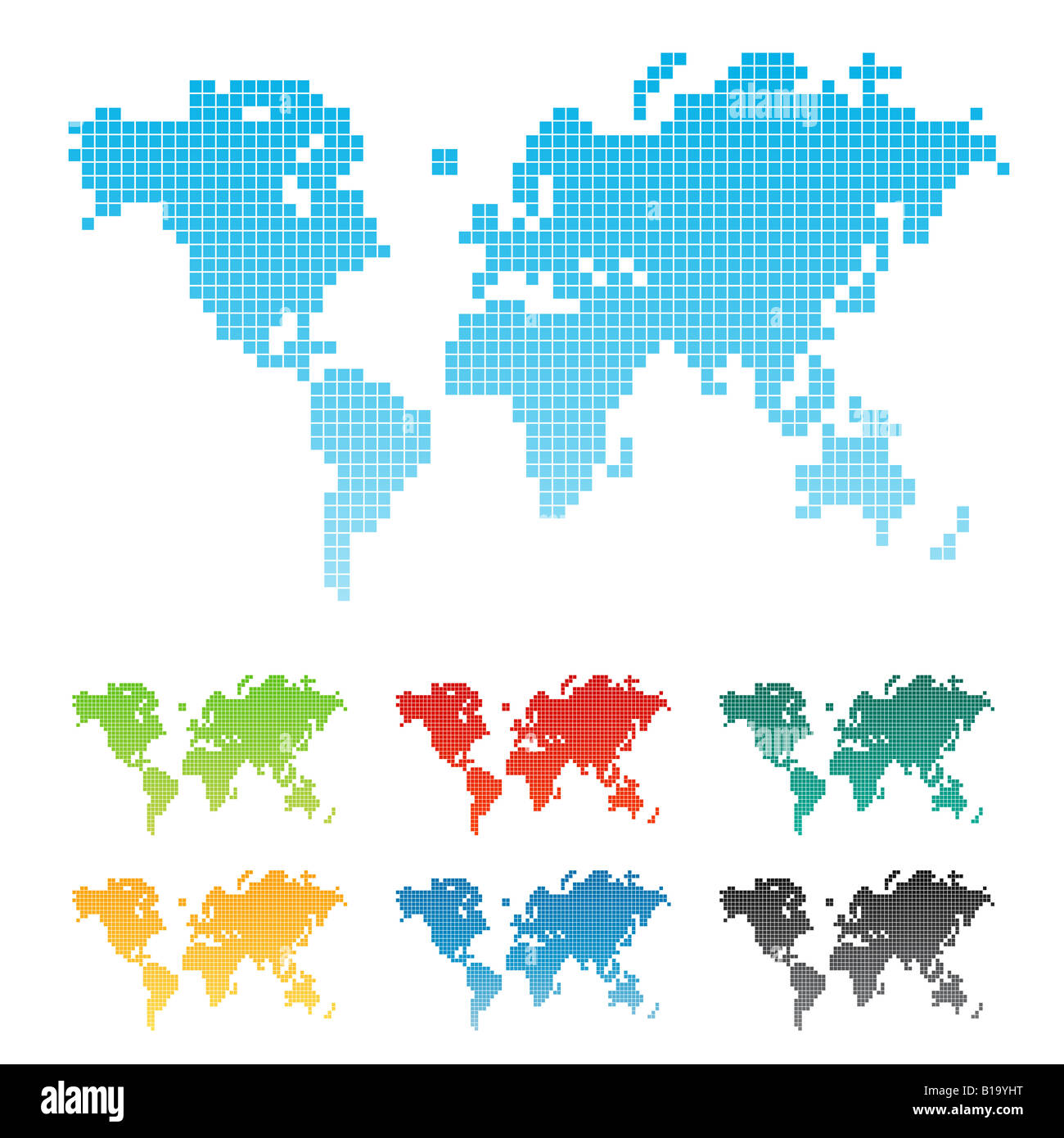 Vector illustration of a world map made of squares pixels seven vector illustration of a world map made of squares pixels seven different color variations isolated gumiabroncs Images