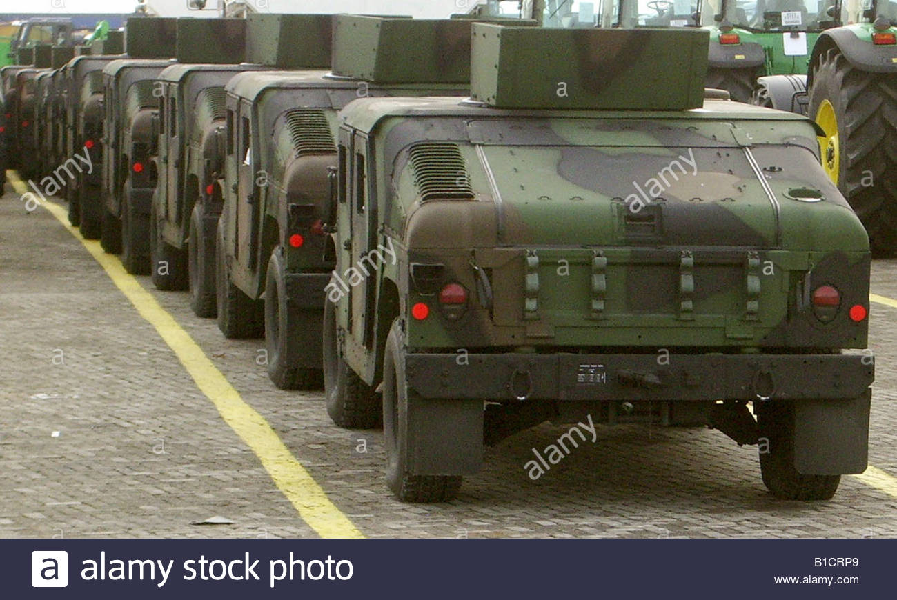 Military Hummers Hummvee vehicles arriving at Bremerhaven ...