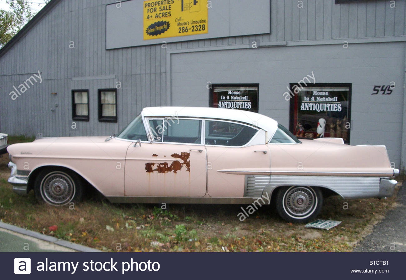 Pink old American car 1960\'s 1950\'s auto automobile Stock Photo ...