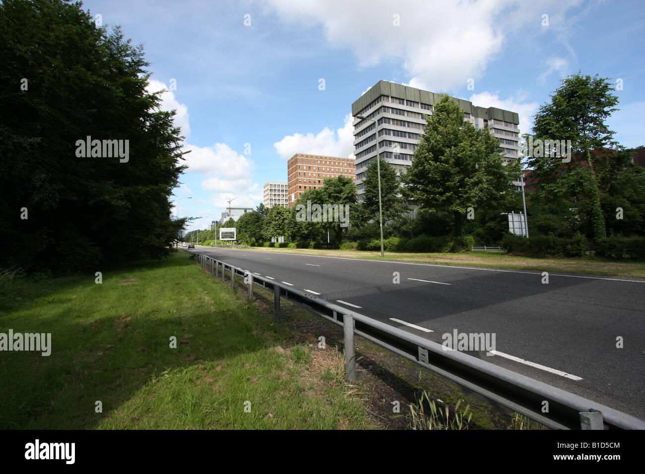 Landscape basingstoke : Dual carriageway with office buildings basingstoke hampshire landscape