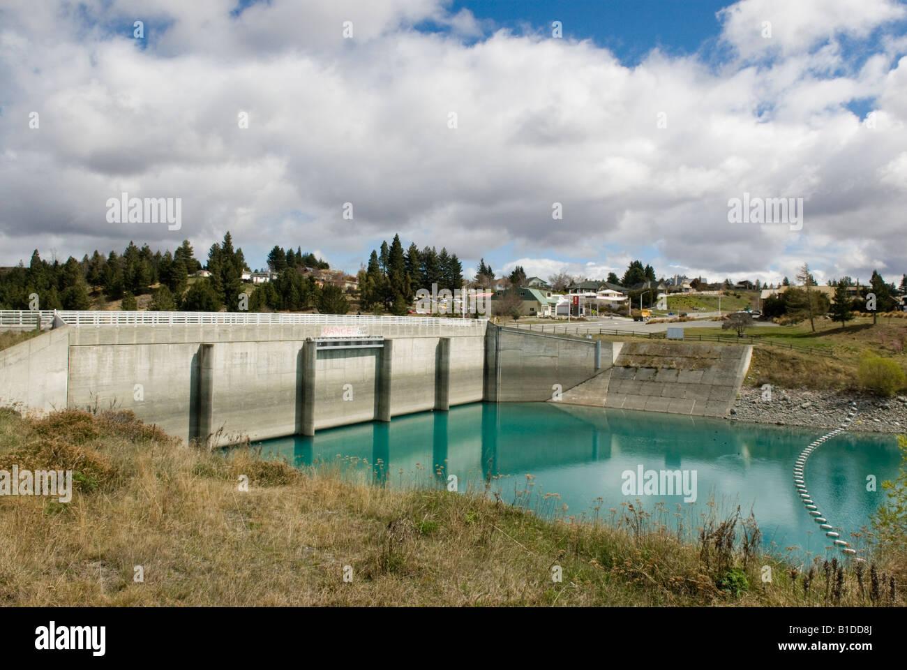 the lake tekapo control gates which release water through