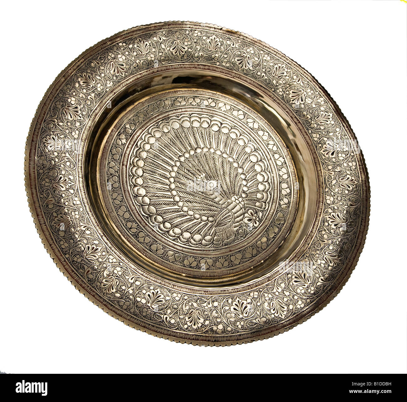 Antique Indian Metal Hand Engraved Brass Plate With Peacock Design Stock Photo Royalty Free