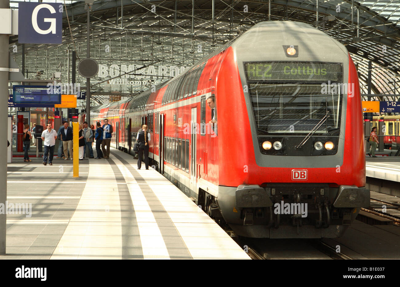berlin germany deutsche bahn db train locomotive engine at the modern stock photo royalty free. Black Bedroom Furniture Sets. Home Design Ideas