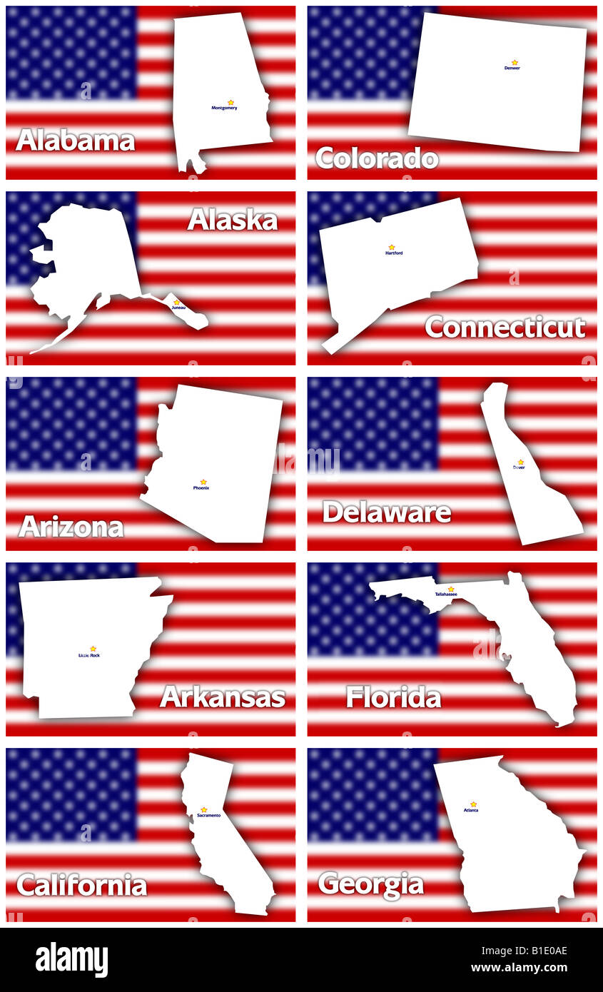 USA States Contours With Capital City Against Blurred American - States of usa in alphabetical order with capitals