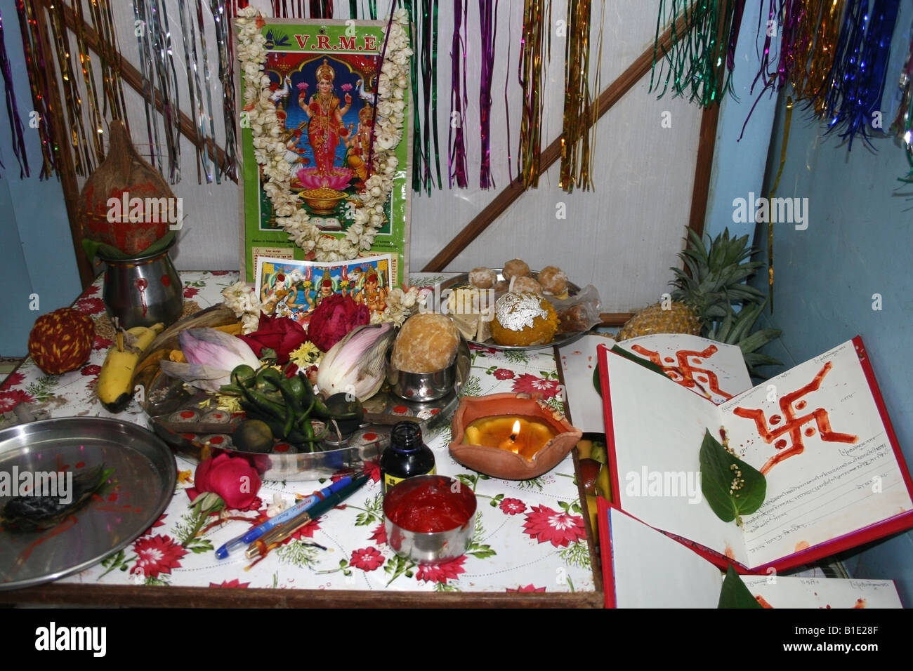 Shrine With Offerings To The Hindu Goddess Lakshmi For
