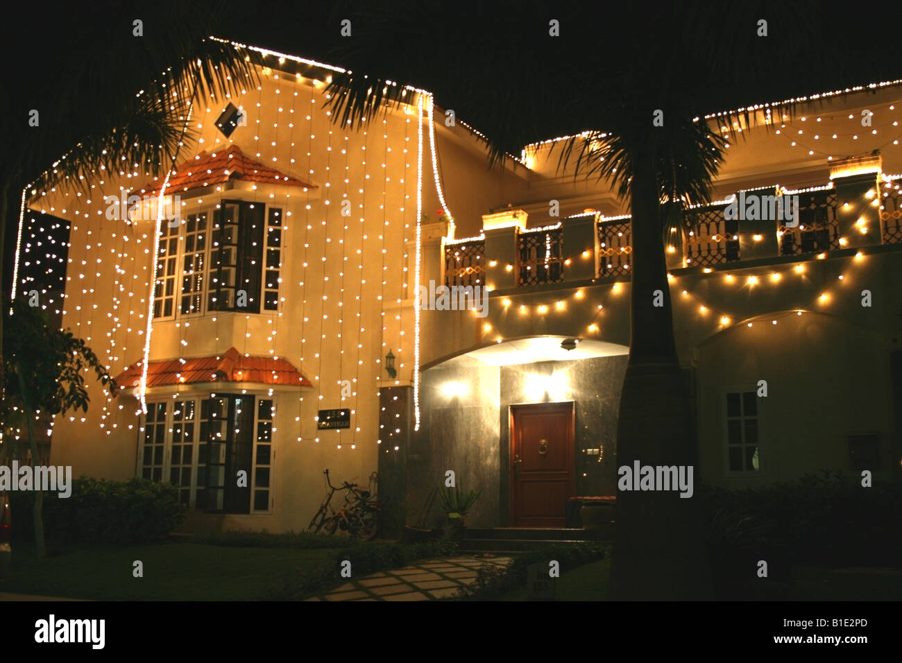 House Lit Up With Lights For The Hindu Festival Of Diwali