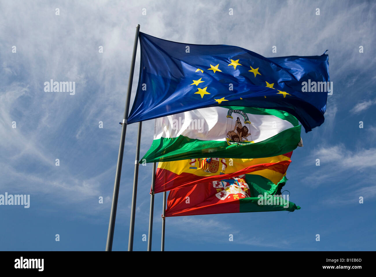 the flags of the european union andalusia spain and granada