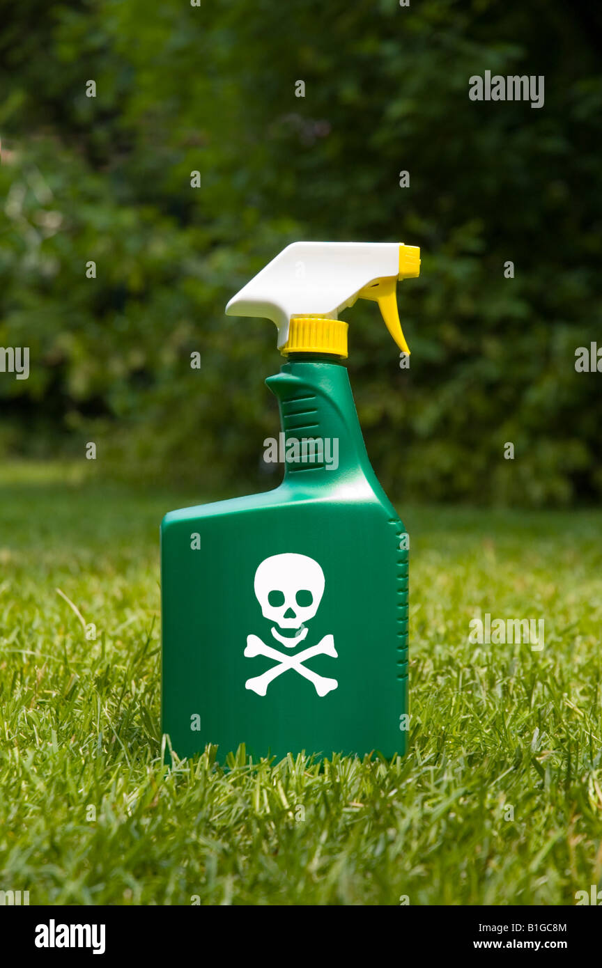Skull And Cross Bones On A Spray Bottle Of Herbicide