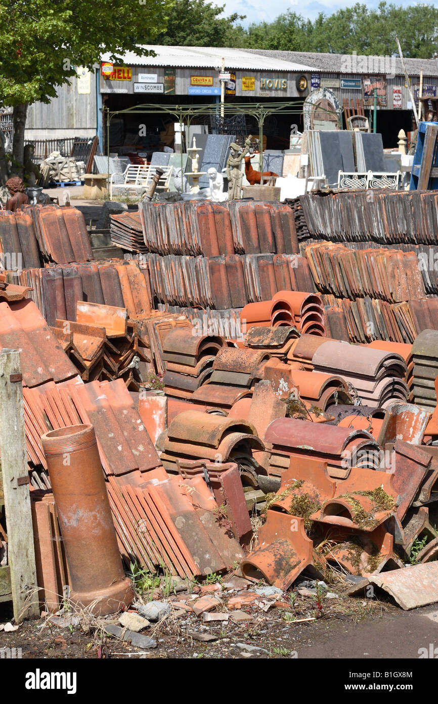 Old Red Roof Tile And Slate For Sale At A Reclamation Yard Building  Material Salvage Centre In Wells Somerset England