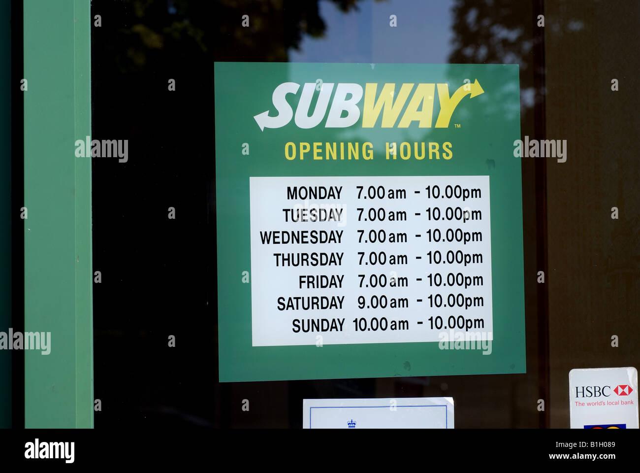 Subway Restaurant Opening Hours