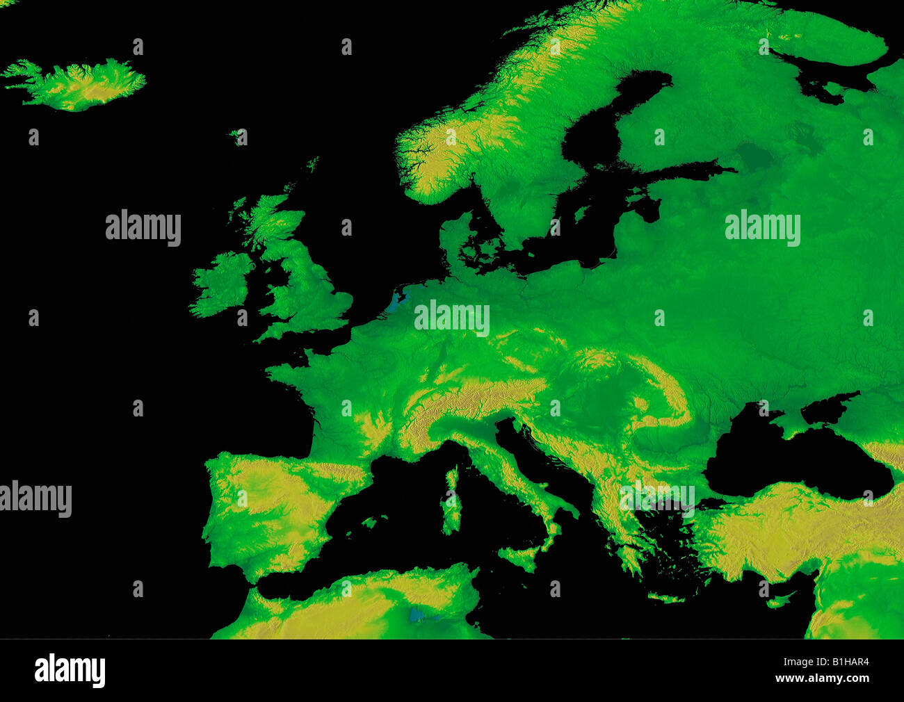 Digital Elevation Map Of Europe Earth From Space Stock Photo - Digital elevation map of the world