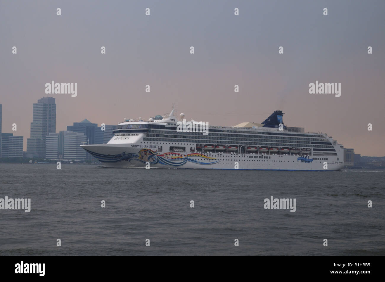 The Cruise Ship Norwegian Spirit Going Down The Hudson River - Cruise ships from new jersey