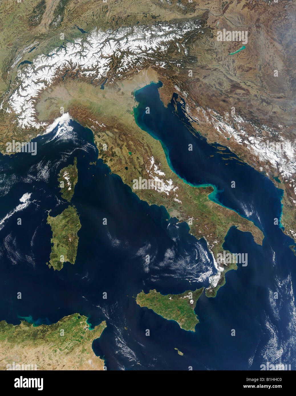 Satellite Image Of Italy Including Sardinia Corsica