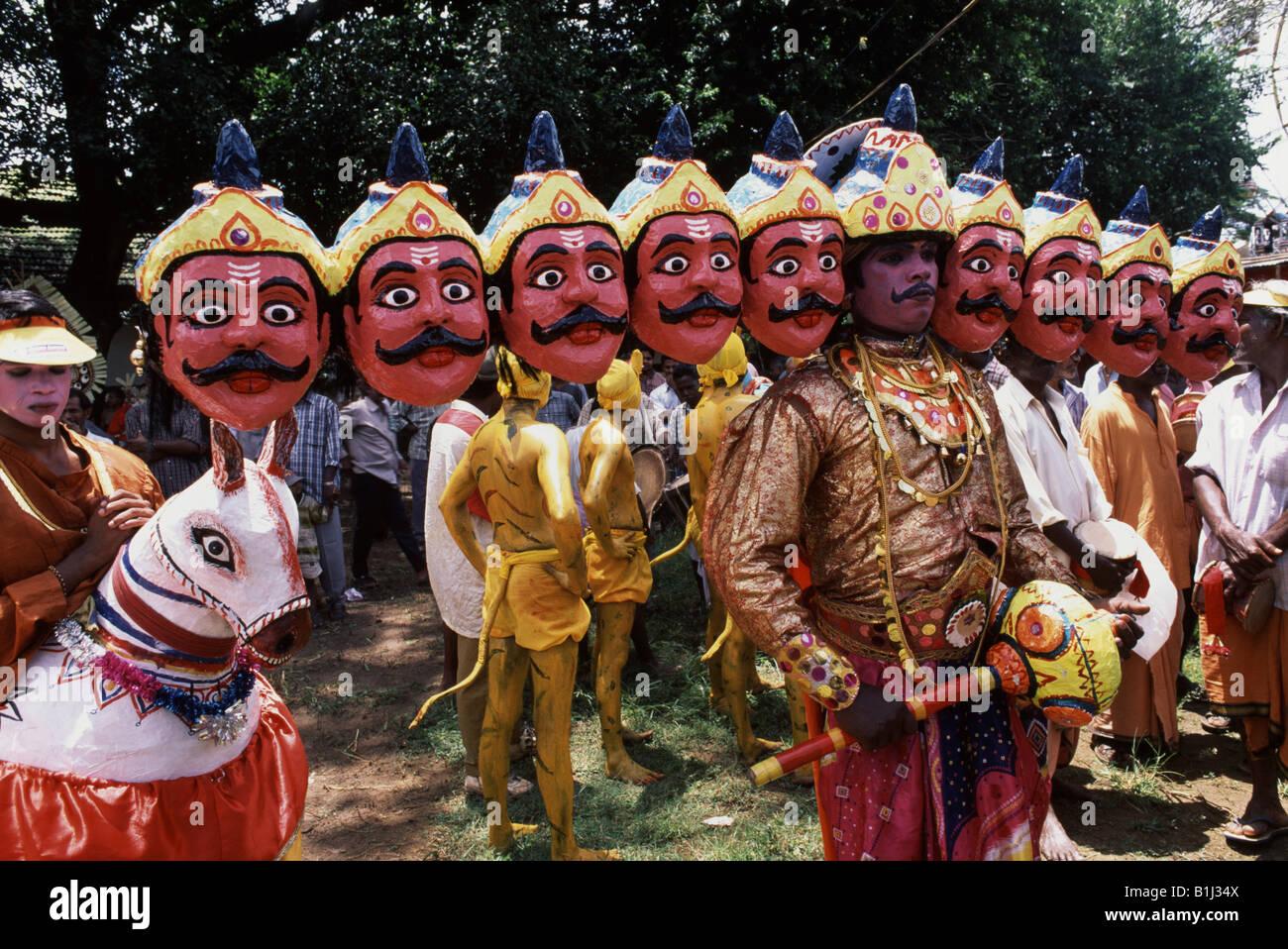 Man dressed as the Ravana a ten headed king of demons in ...