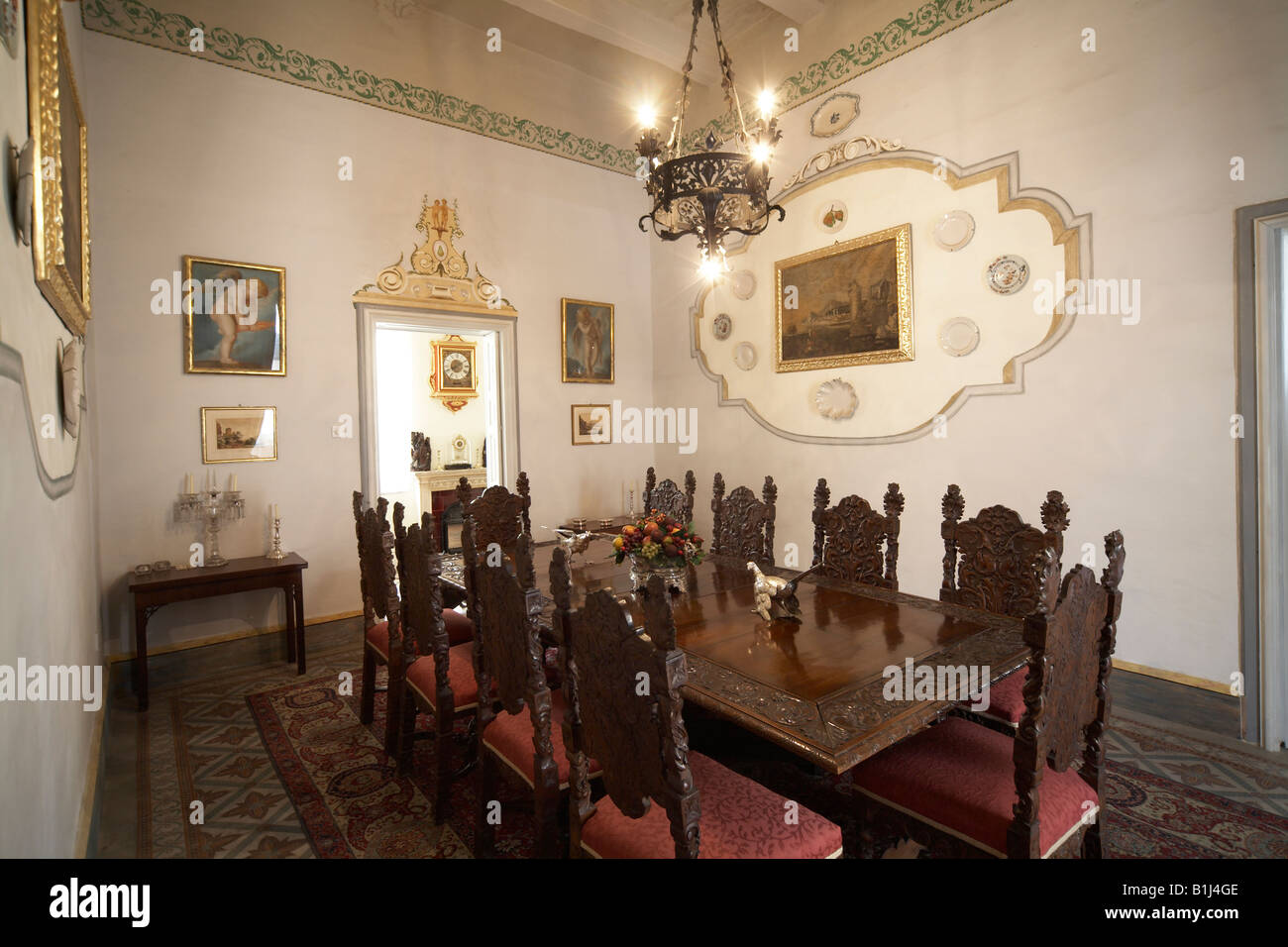 Dining Room Large Wooden Table With Chairs In Casa Rocca Piccola Grand Historic 16C Maltese Palazzo House Valletta Malta