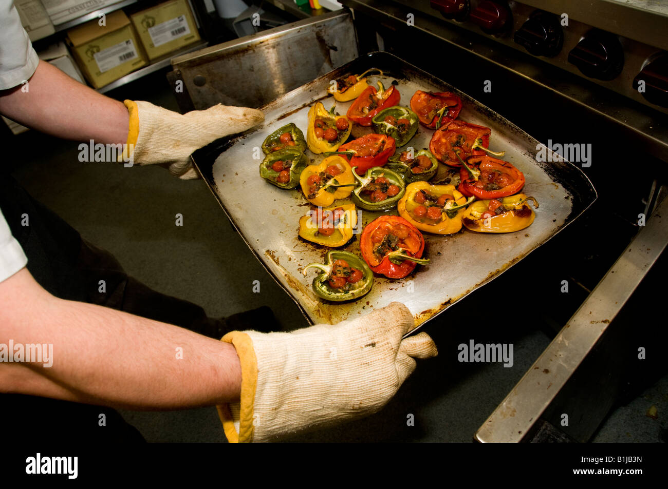 Restaurant Kitchen Gloves chef wearing oven gloves removing a tray of hot baked peppers from