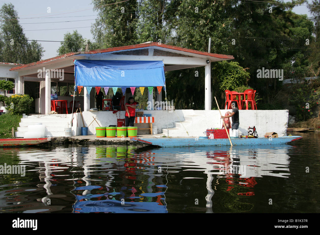 House On The Canals Of The Floating Gardens Of Xochimilco Mexico Stock Photo Royalty Free