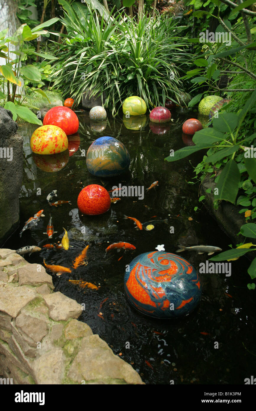 Orbs in koi fish pond blown glass art by dale chihuly for Fishing ponds columbus ohio