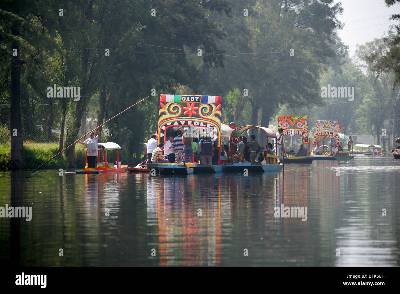 Boats On The Canals Of The Floating Gardens Of Xochimilco Mexico City Stock Photo Royalty Free