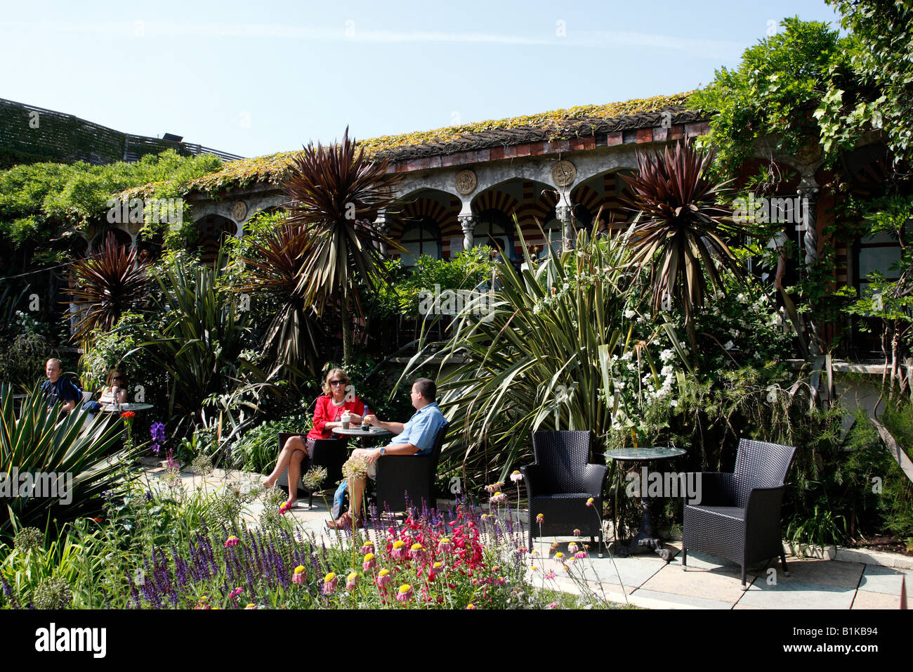 Stock Photo   Views Of The Spanish Garden A Section Of The Roof Gardens  Part Of The Virgin Limited Edition Kensington High Street London Uk