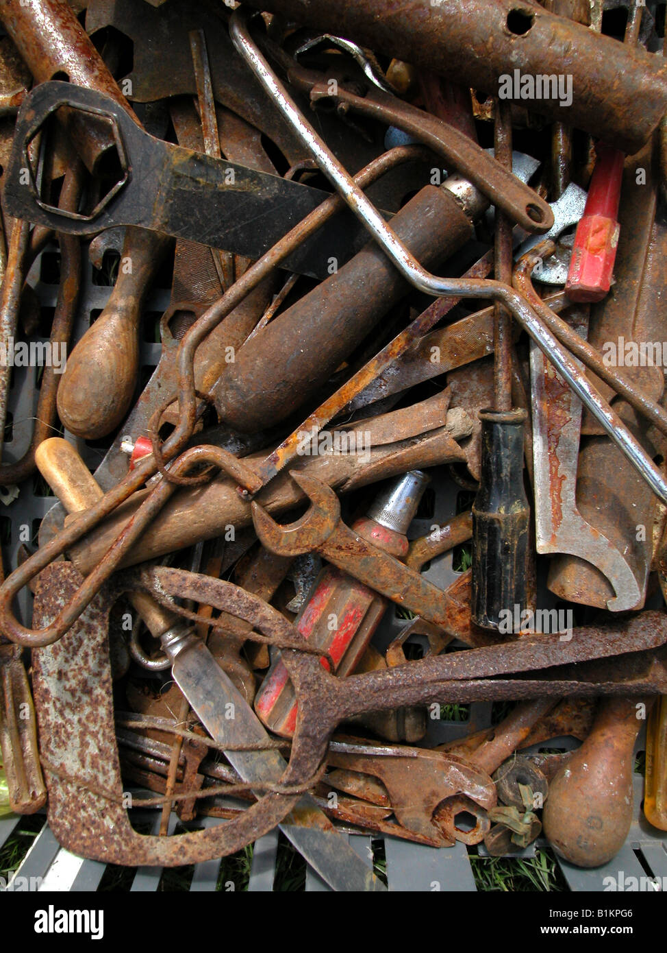 Box of rusty old tools for sale at boot fair including for Outdoor tools for sale
