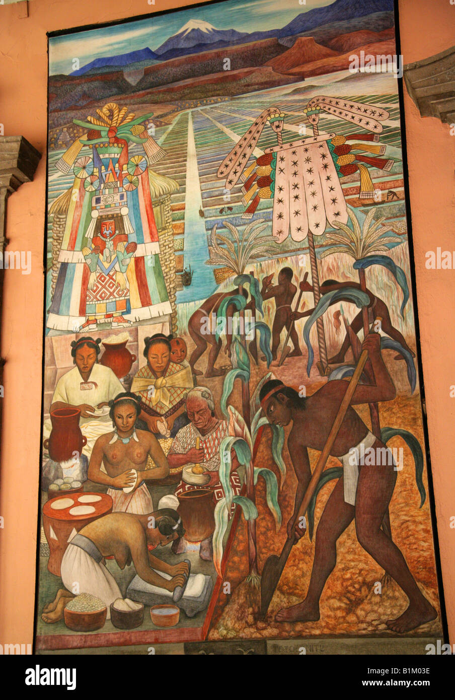 Mural in the national palace depicting life in ancient for Aztec mural painting