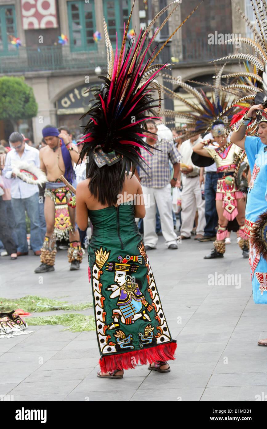 Mexican Dancers In Aztec Costume Zocalo Square Plaza De La Constitucion B M B on Aztec Dance Headdress
