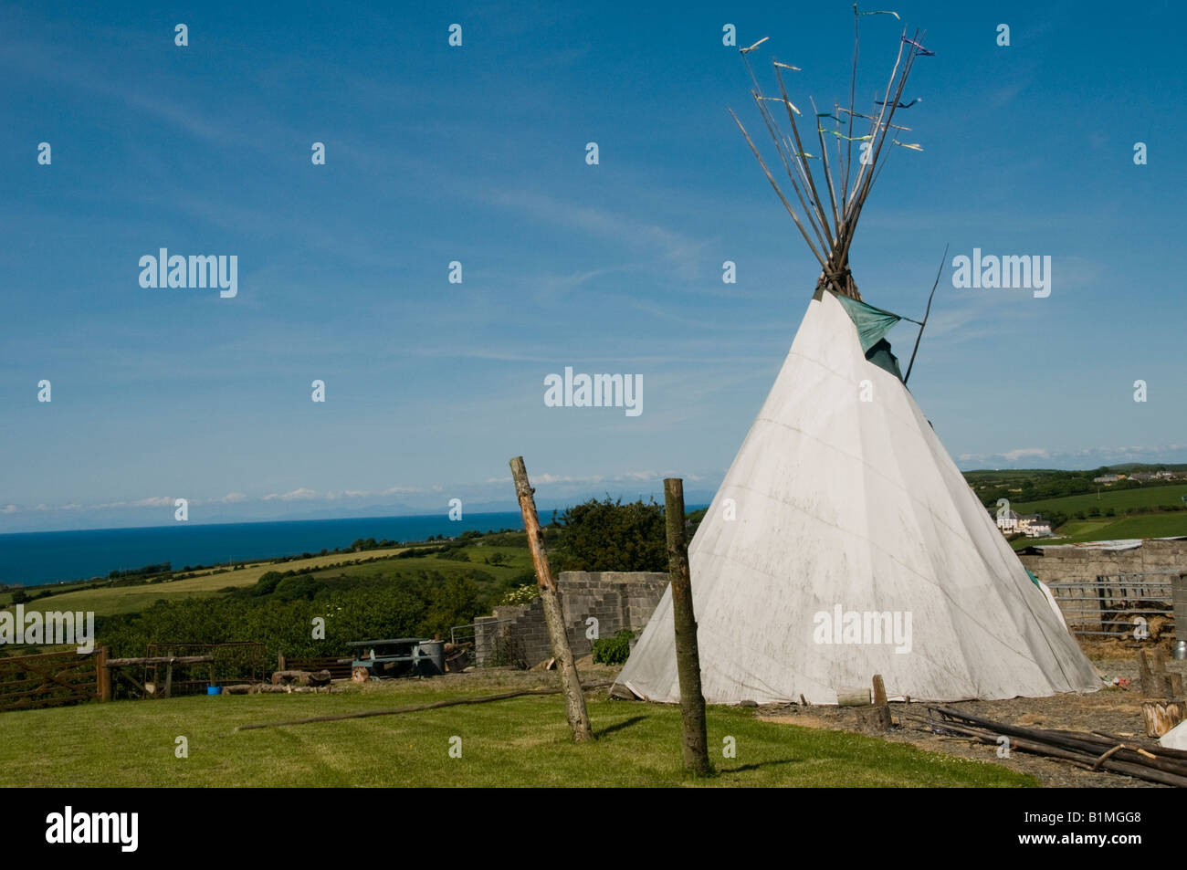 TeePee tent at TiPi West c&site on the Cardigan Bay coast west wales summer afternoon Wales UK & TeePee tent at TiPi West campsite on the Cardigan Bay coast west ...