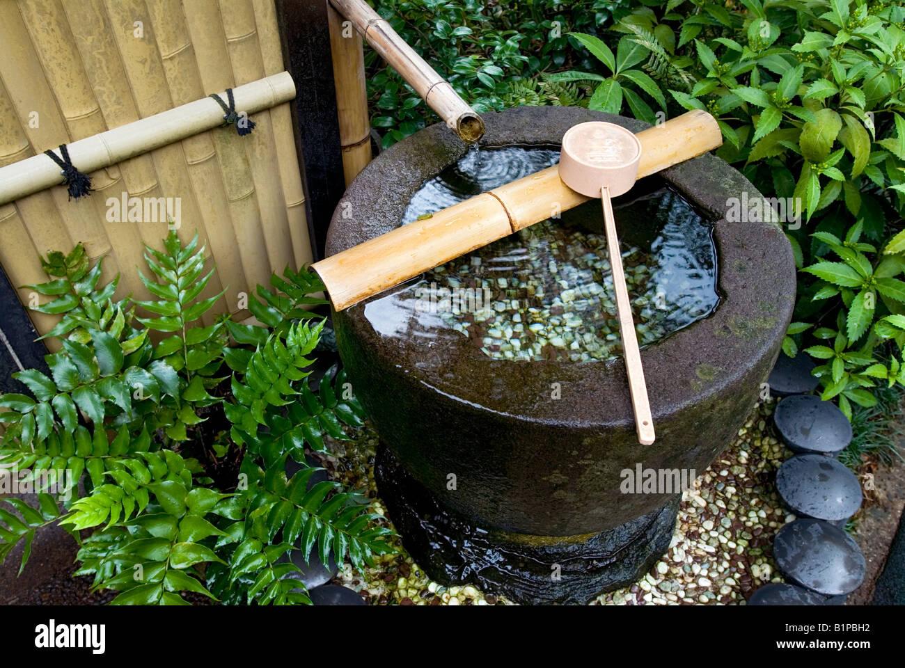 A tsukubai or stone basin in lush japanese garden filled - Japanese garden water basin ...
