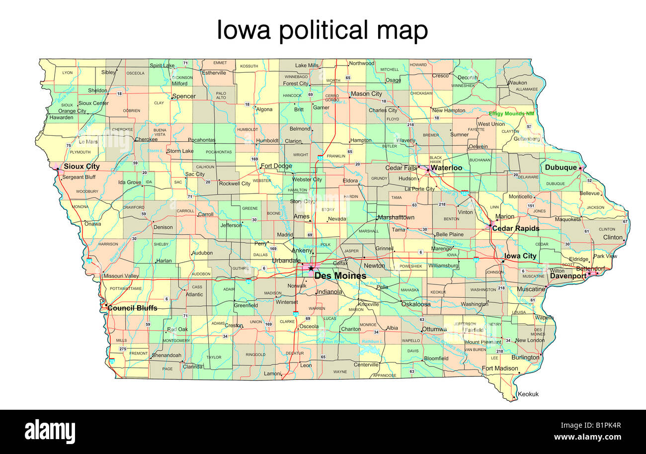 iowa state political map stock photo royalty free image