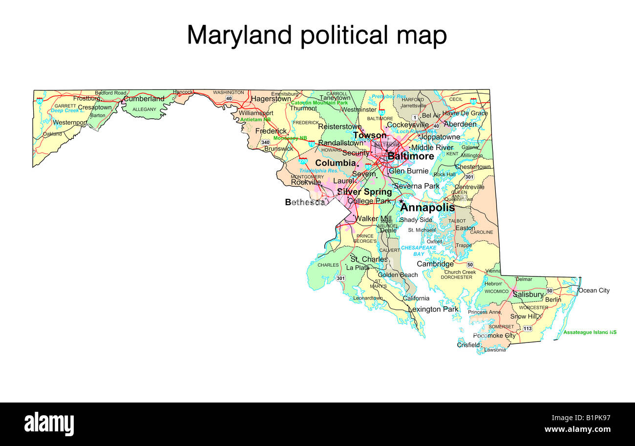 Maryland state political map Stock Photo Royalty