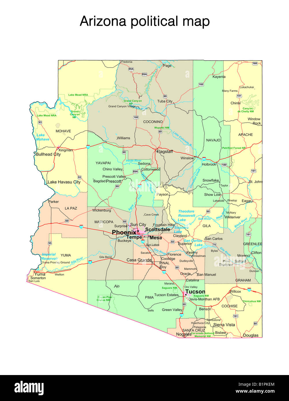Arizona State Political Map Stock Photo Royalty Free Image - Map of the arizona