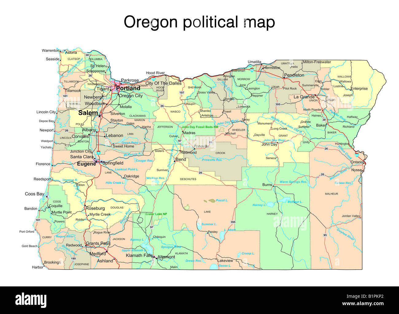 Oregon State Political Map Stock Photo Royalty Free Image - State map of oregon