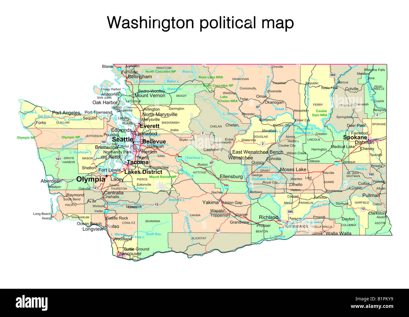 Washington State Political Map Stock Photo Royalty Free Image - Washinton state map