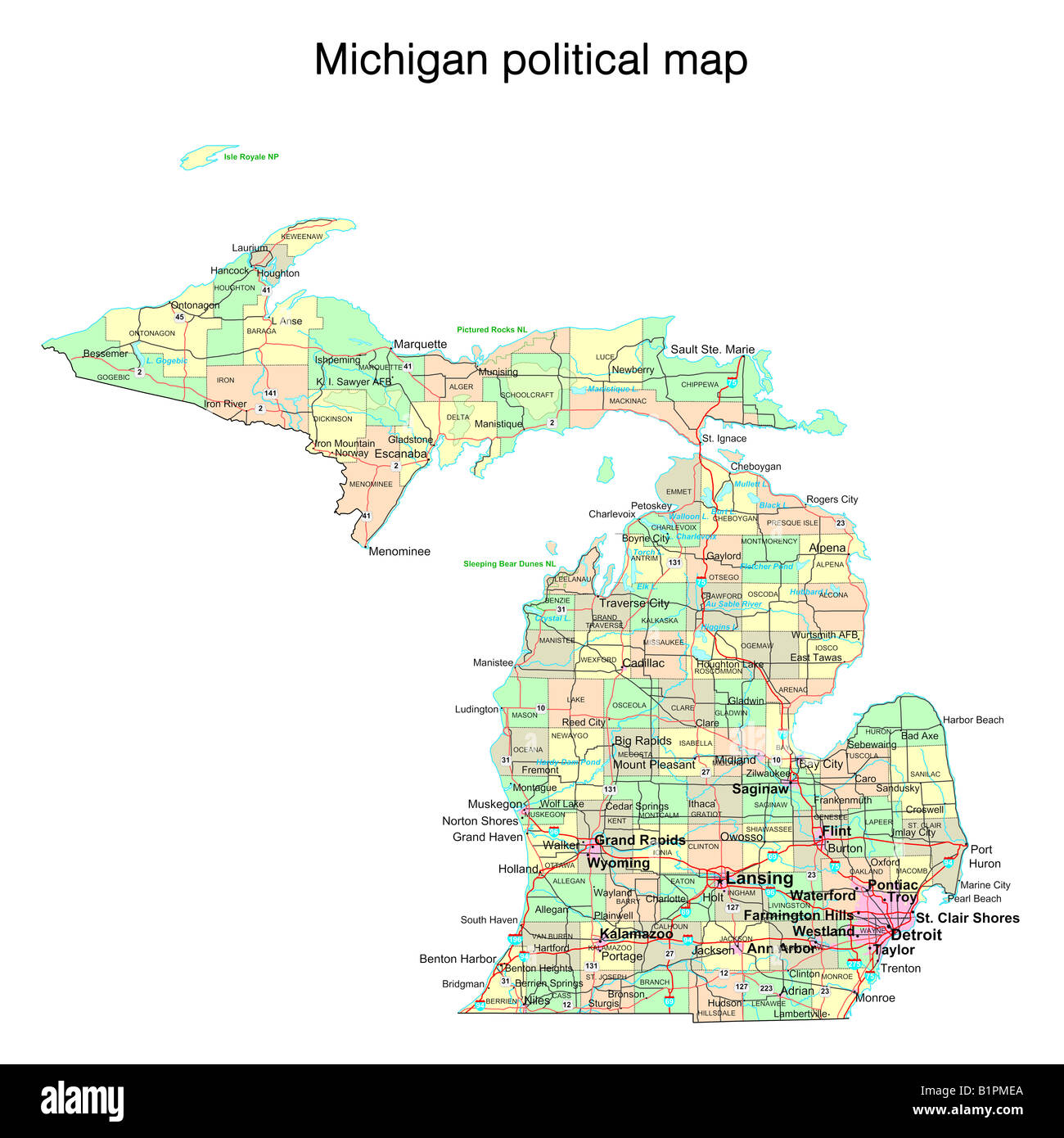 Michigan State Political Map Stock Photo Royalty Free Image - Michigan state map