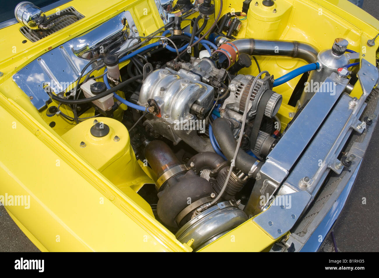 Heavily modified and turbocharged Mazda rotary 13B engine as used ...