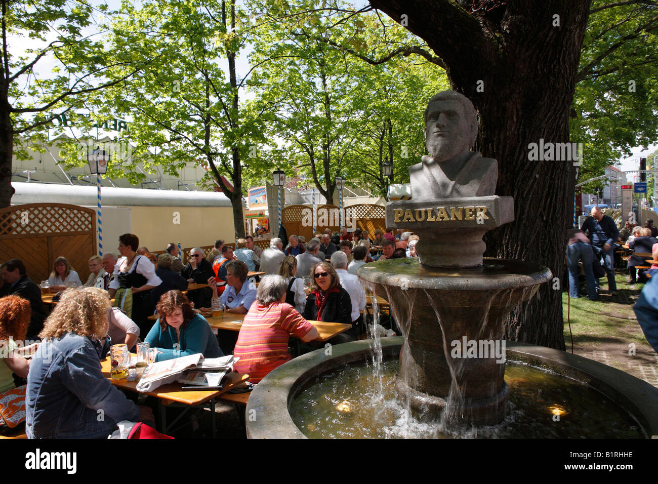 Beer Garden At The Paulaner Fountain During Auer Dult Market In May Stock Photo Royalty Free
