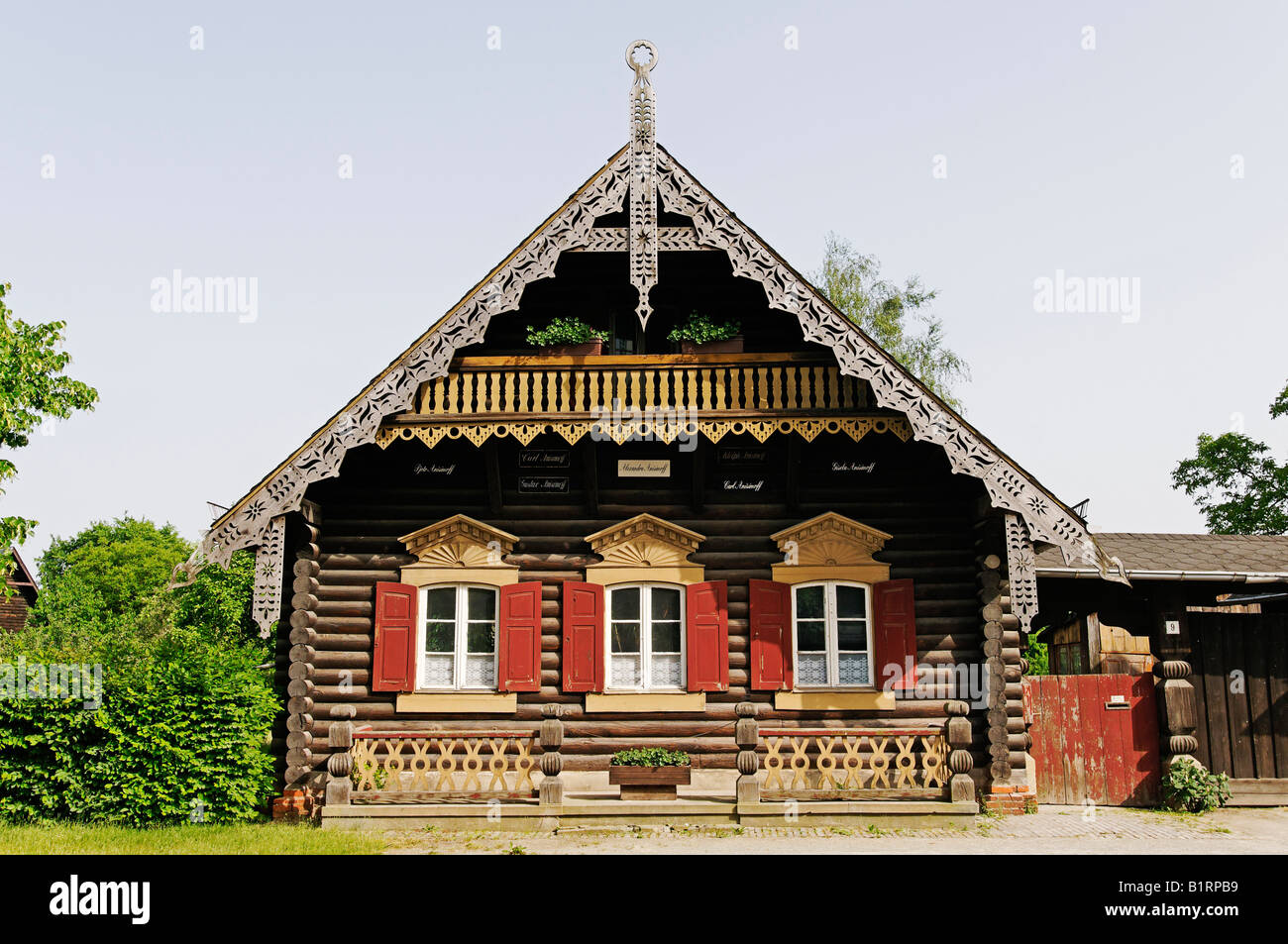 timber building in the russian colony alexandrowka potsdam stock photo royalty free image. Black Bedroom Furniture Sets. Home Design Ideas