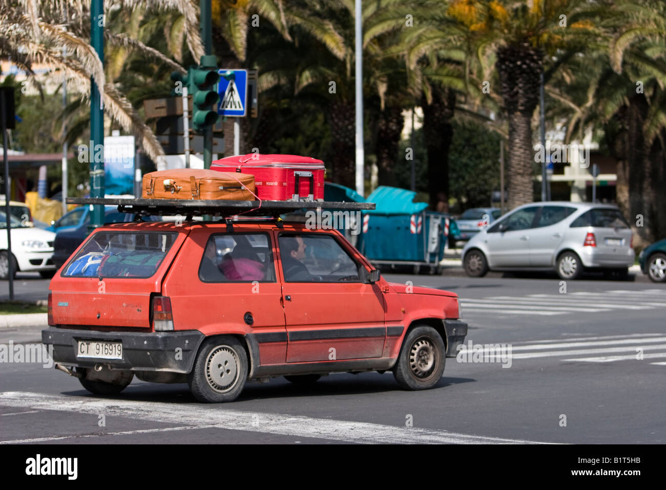 old red fiat panda drive in catania sicily italy stock. Black Bedroom Furniture Sets. Home Design Ideas